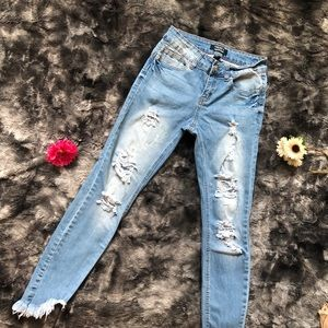 F21 Distressed Push Up Jeans